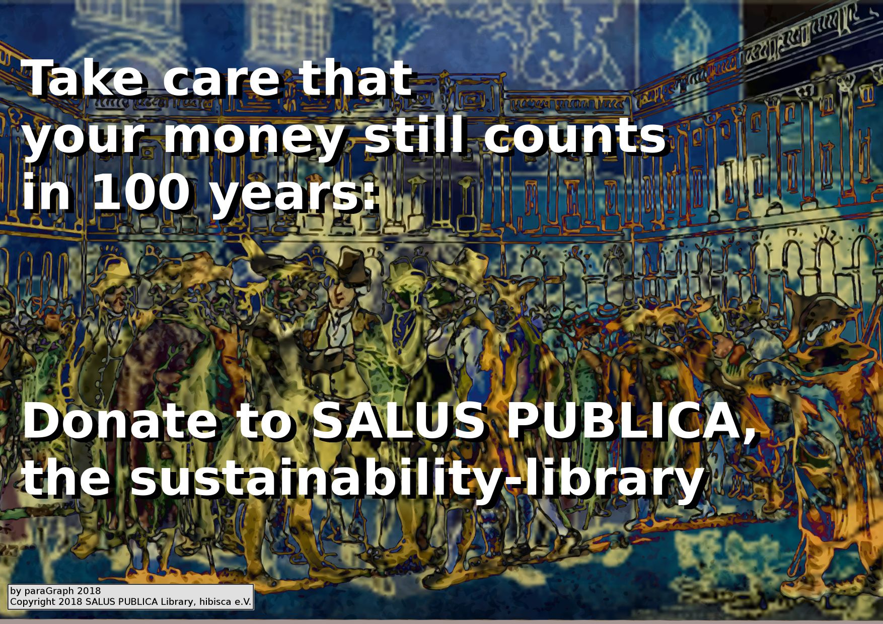 Fundraising illustration for the SALUS PUBLICA LIbrary, by paraGraph, Copyright 2018 SALUS PUBLICA Library, hibisca e.V.